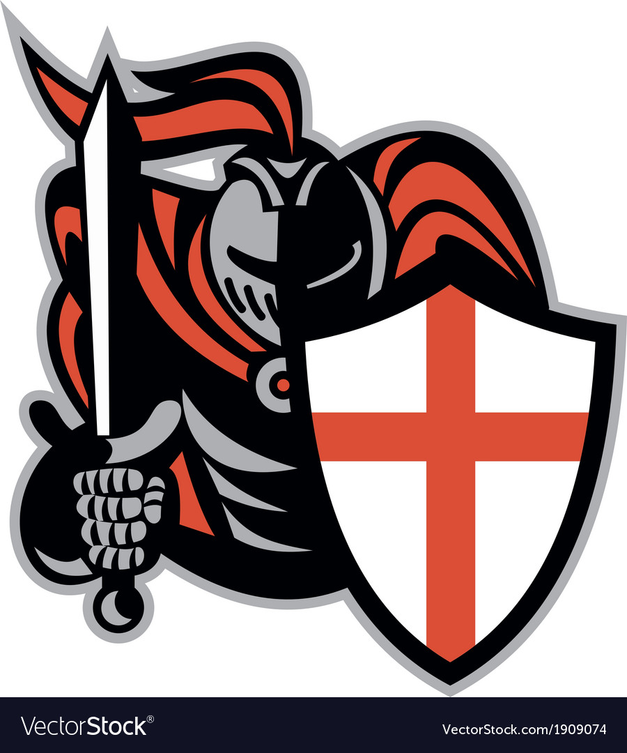English knight with sword england shield retro vector