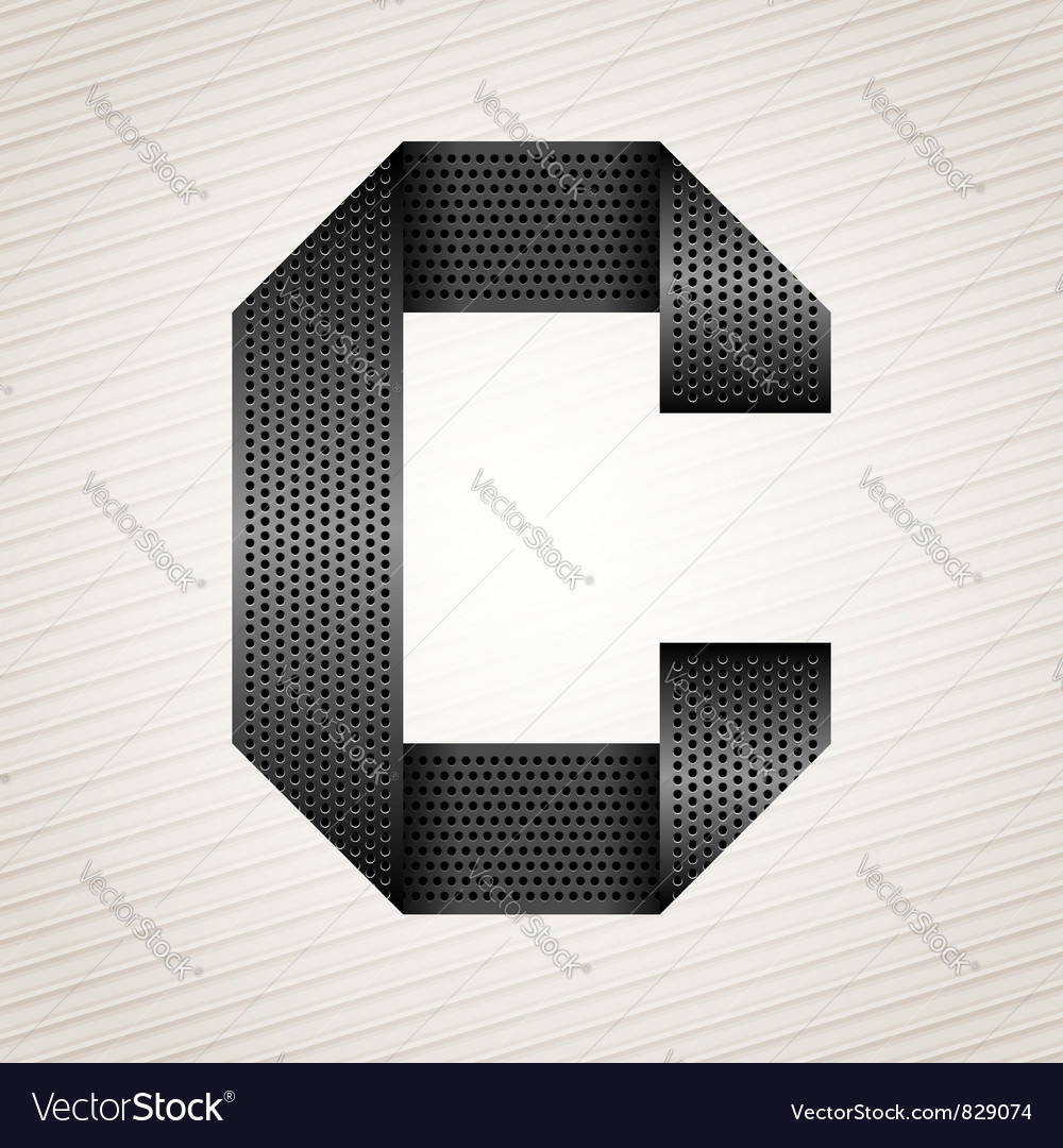 Letter metal ribbon  c vector