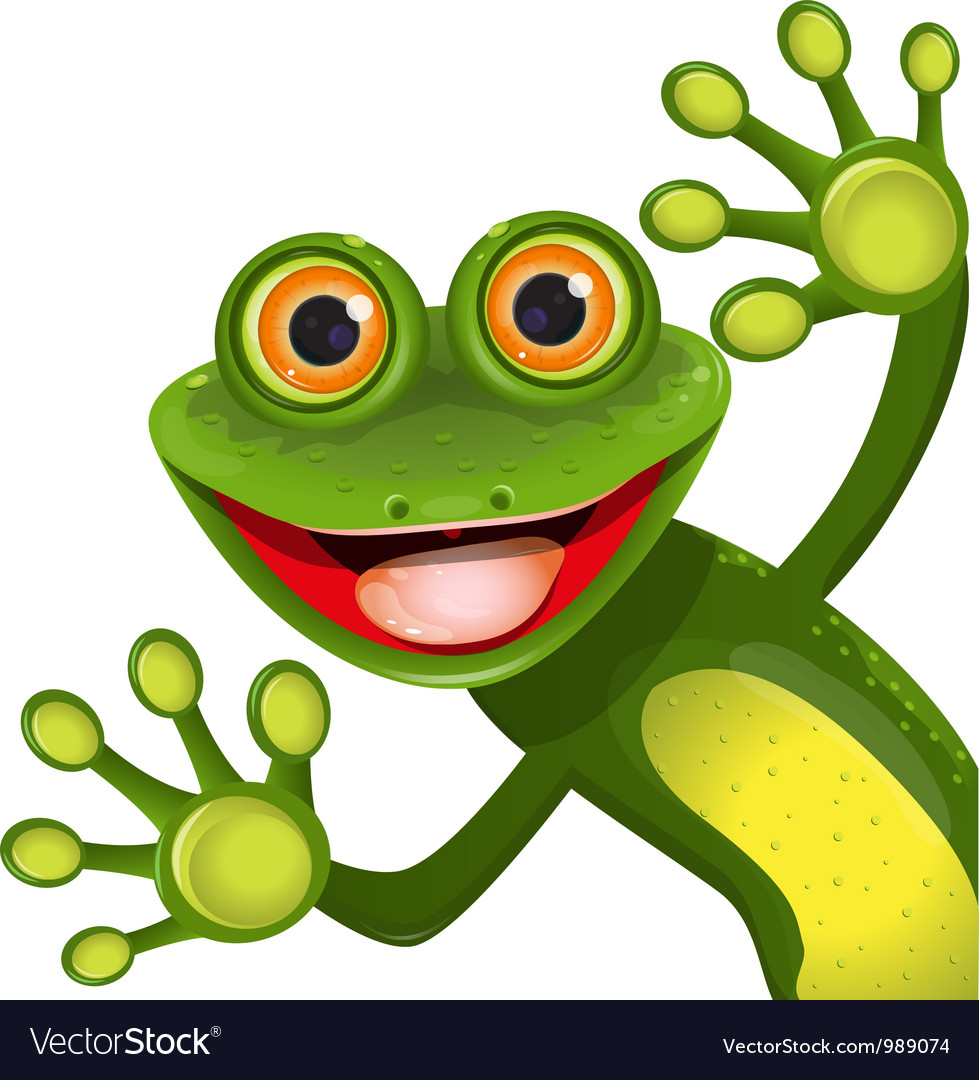 Merry green frog vector