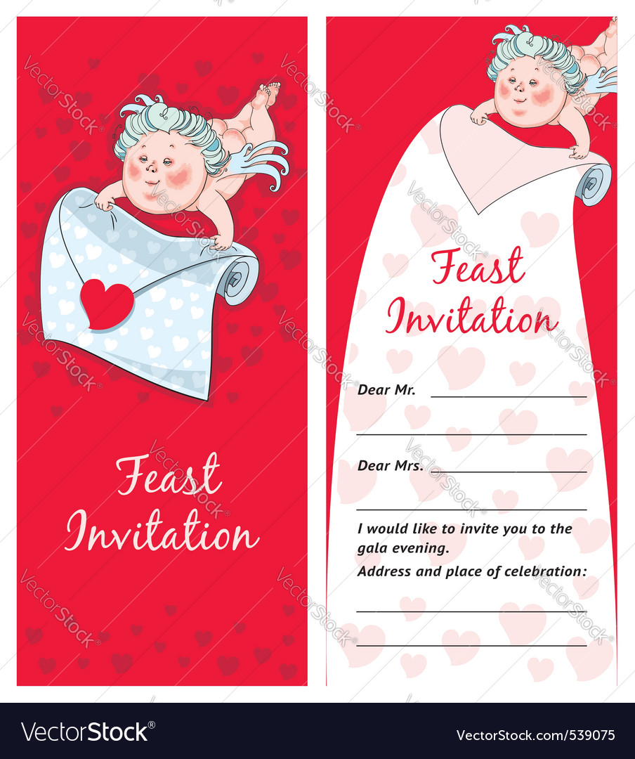 Cupid with a letter valentines day postcard invita vector