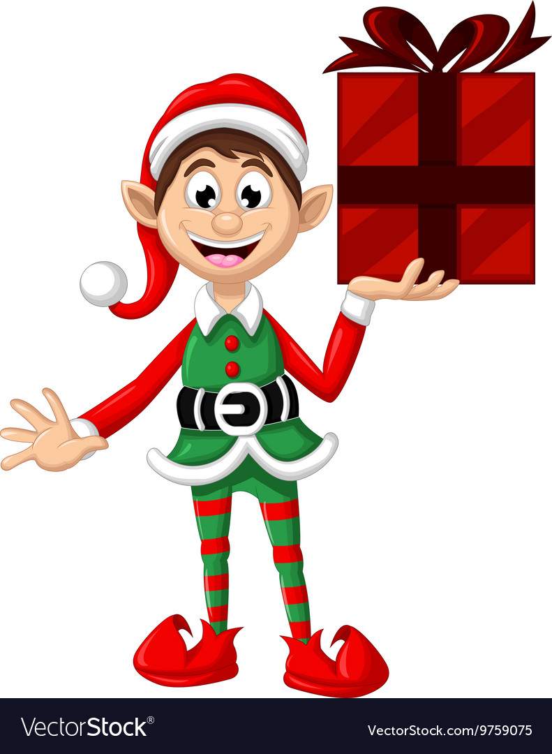 Cute christmas elf holding a gift vector