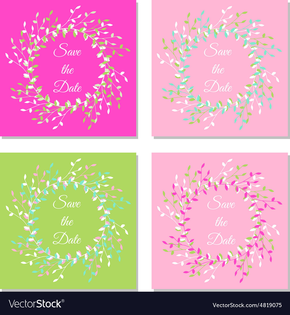 Set of save the date handdrawn branches colorful vector
