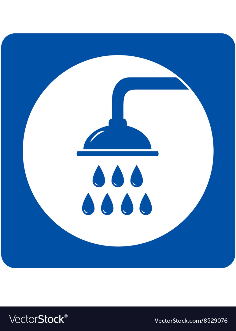 Blue shower head sign vector
