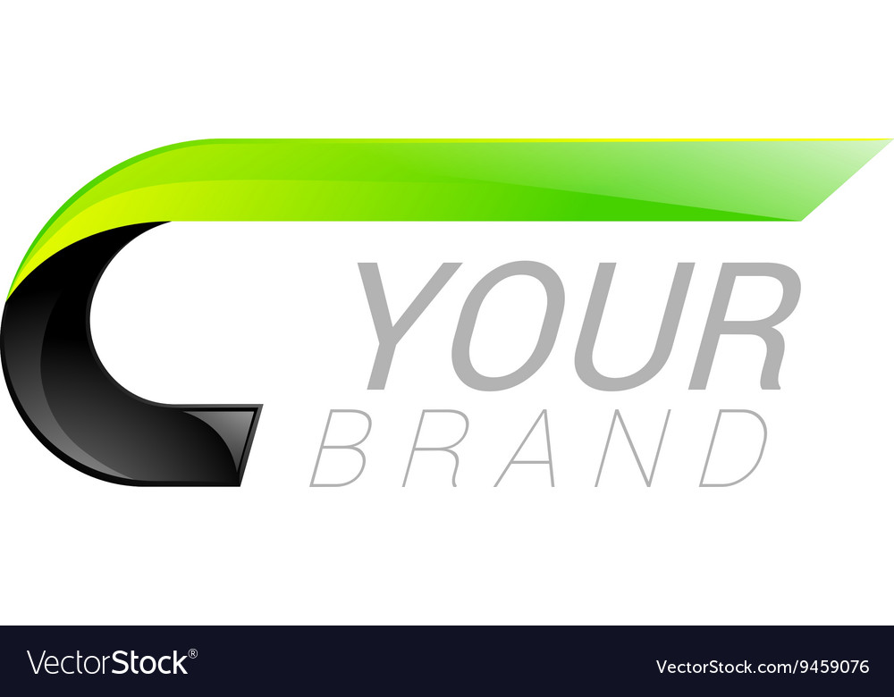 C letter black and green logo design fast speed vector