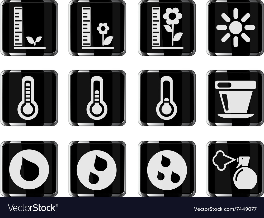 Plant growing sign silhouette icons vector