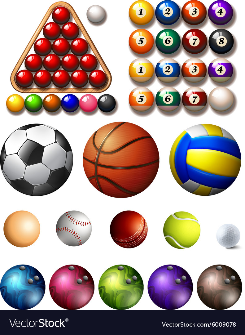 Different kind of balls of many sports vector