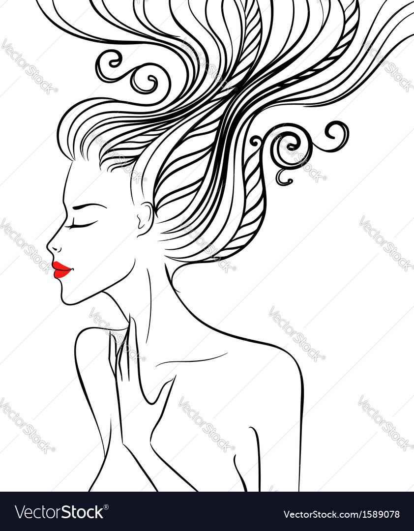 Girl with swirl hair vector