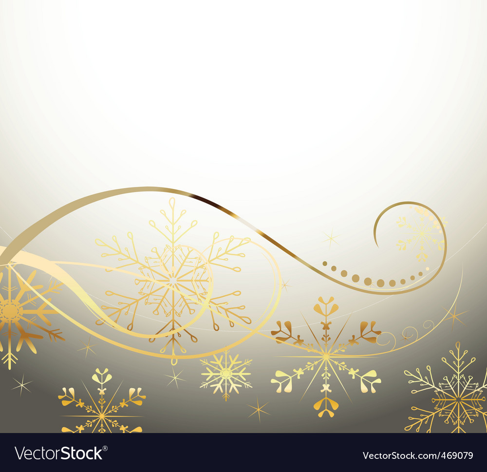 Golden snowflakes vector