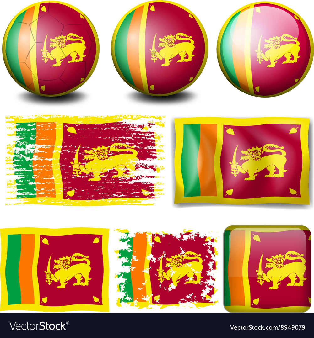 Sri lanka flag on different objects vector