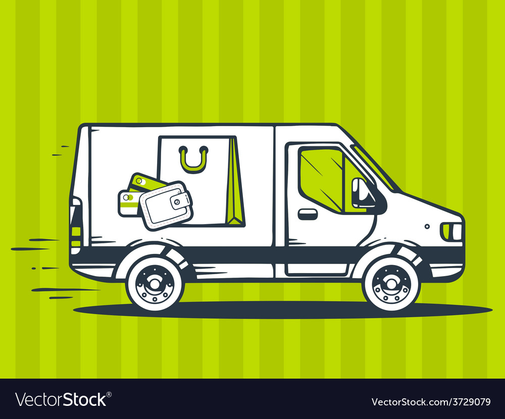 Van free and fast delivering bag and mone vector