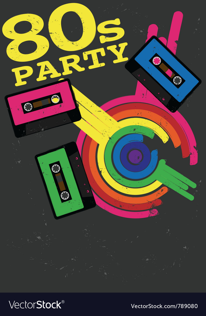 80s party flyer vector