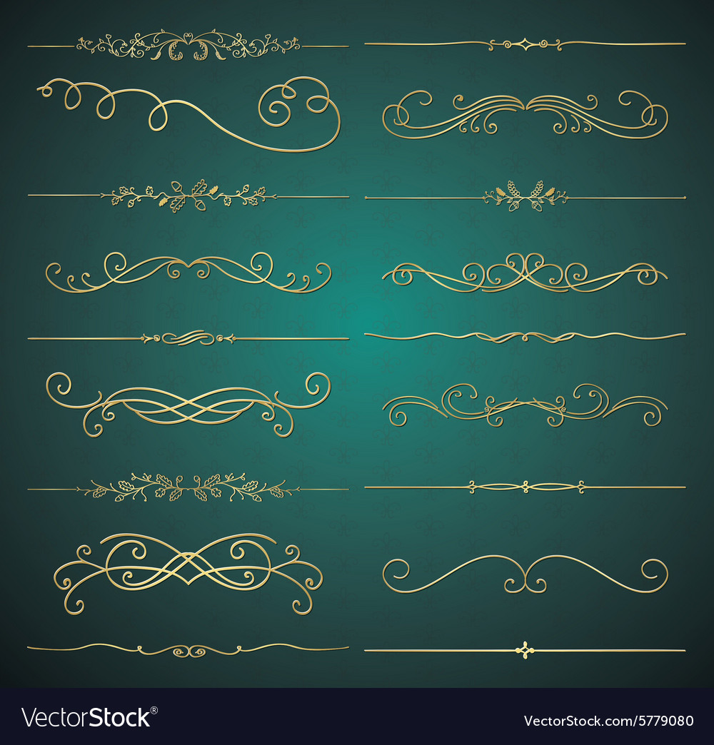 Golden luxury glossy vintage dividers vector