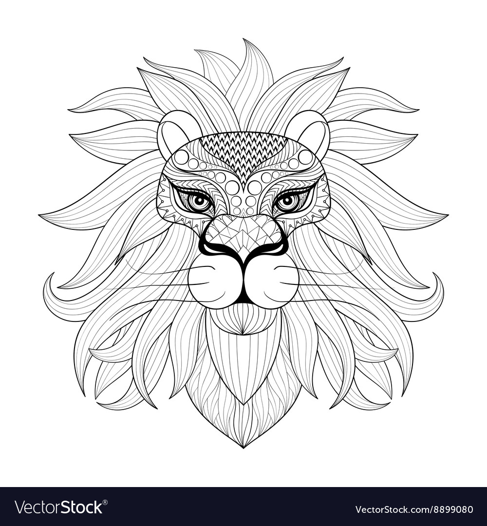 Hand drawn zentangle ornamental lion for adult vector