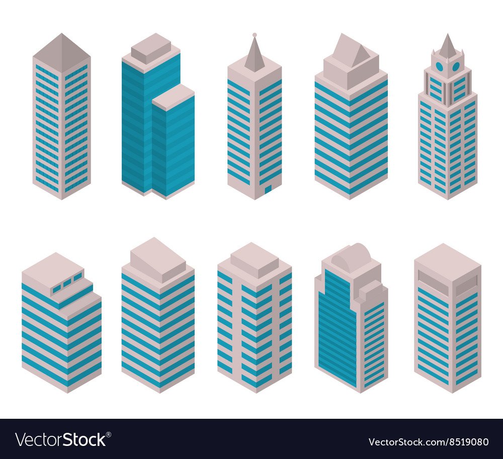 Isometric set of tall buildings vector