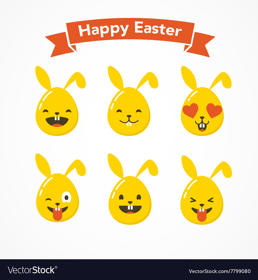 Set of easter eggs emoticons emoji set vector