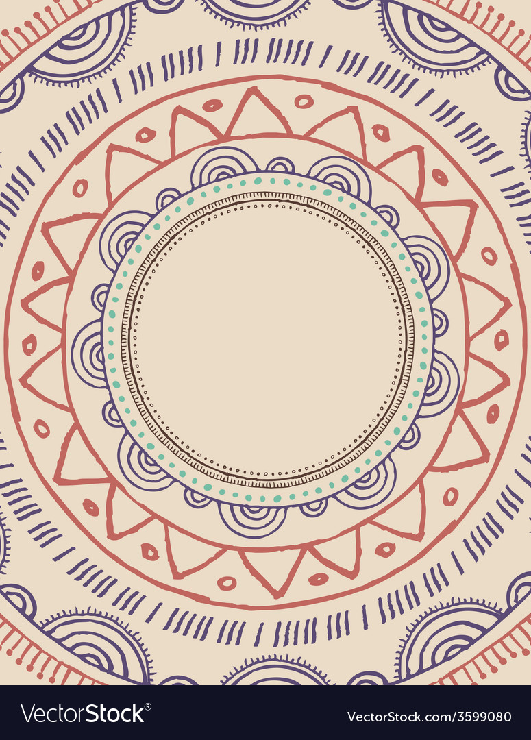 Tribal bohemian mandala background with round vector