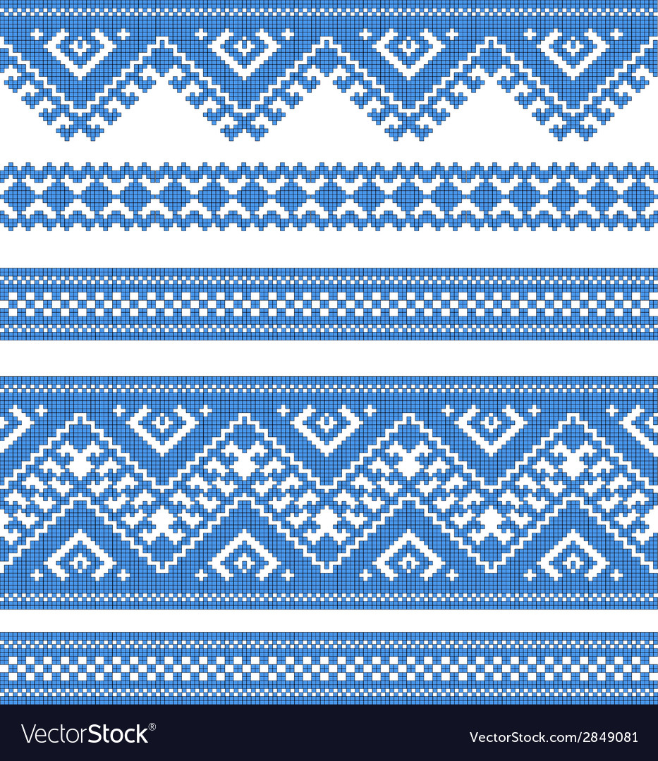 Embroidered good like handmade crossstitch ethnic vector