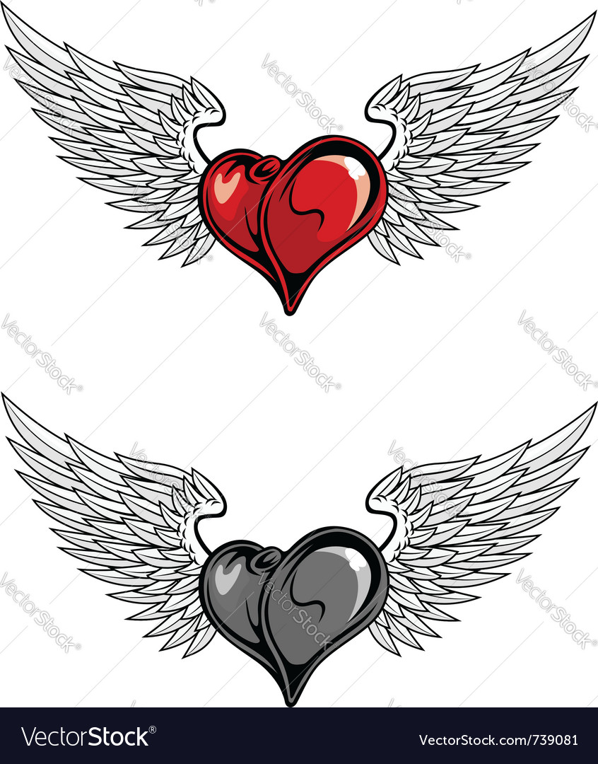 Medieval heart with wings vector