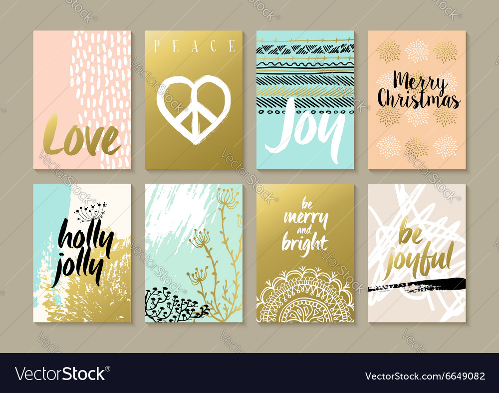 Merry christmas retro hipster boho hippie card set vector