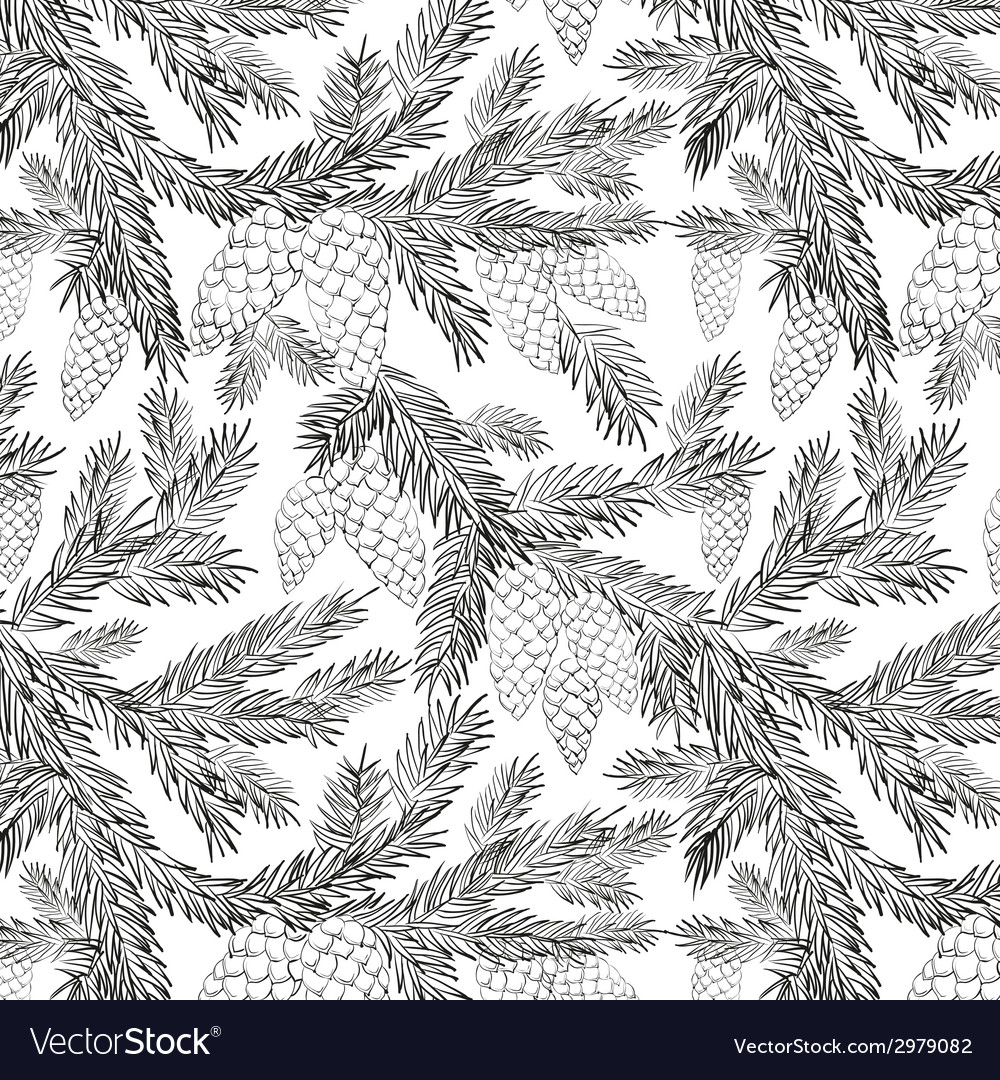 Seamless pattern furtree vector