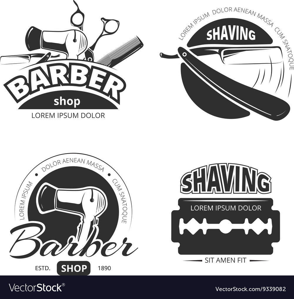 Vintage barber shop logo labels and badges vector
