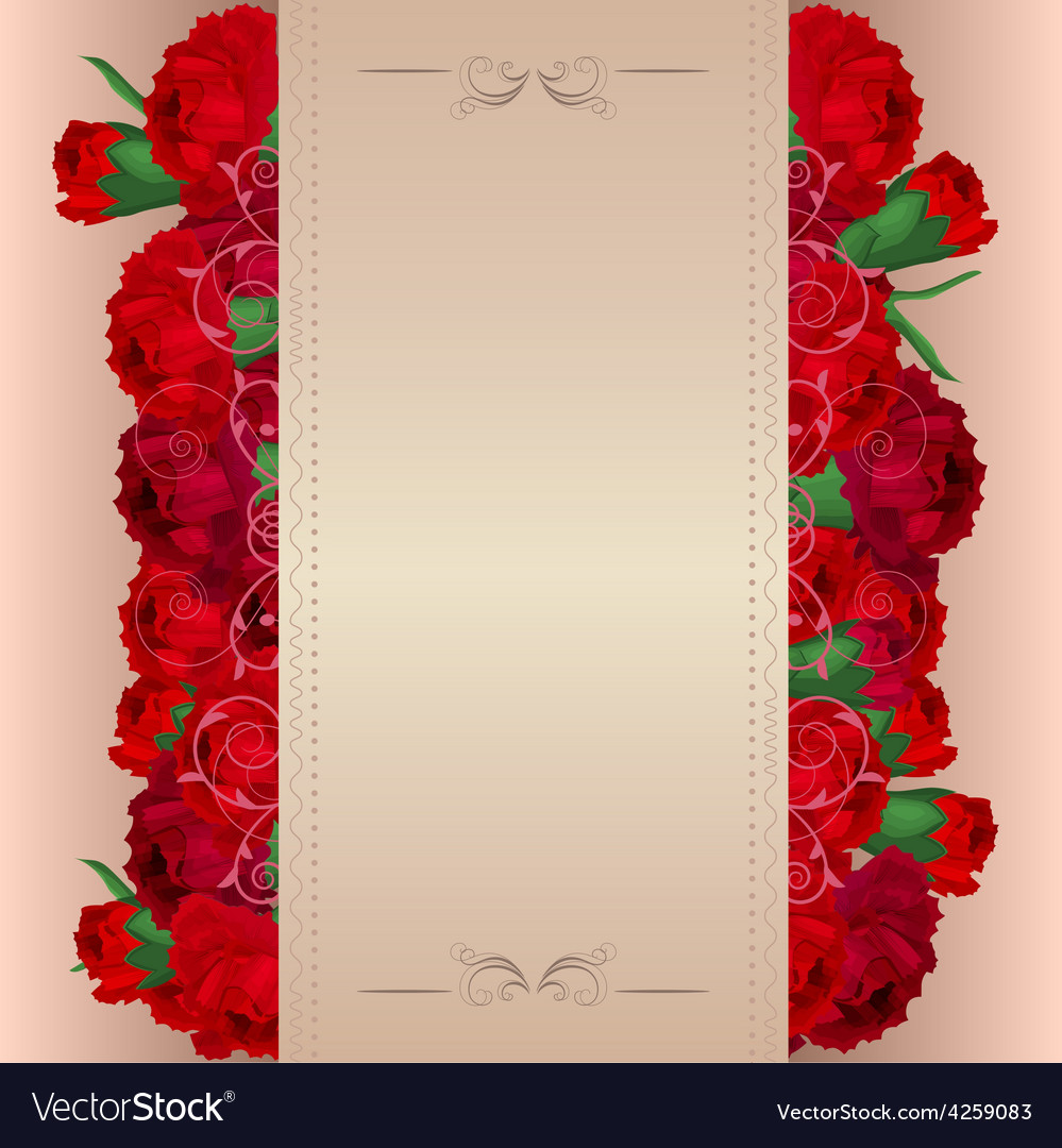 Background with red carnations vector