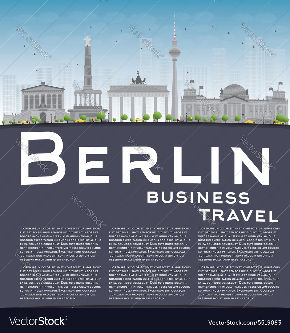 Berlin skyline with grey building and copy space vector