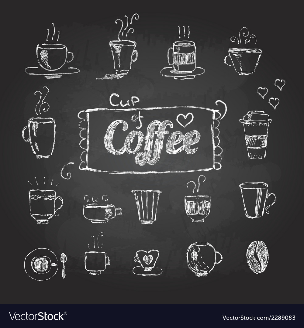 Chalk drawings set of coffee cups vector