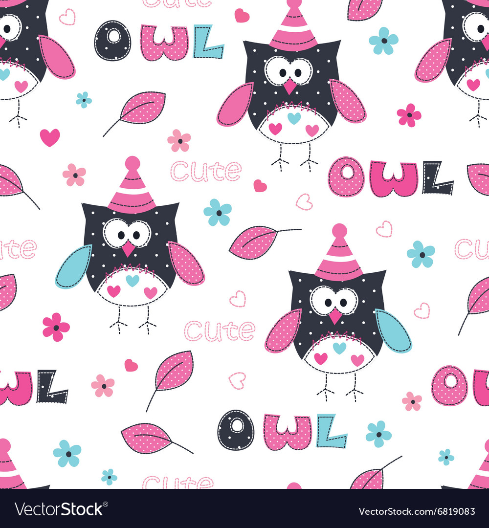 Seamless pattern with owl vector