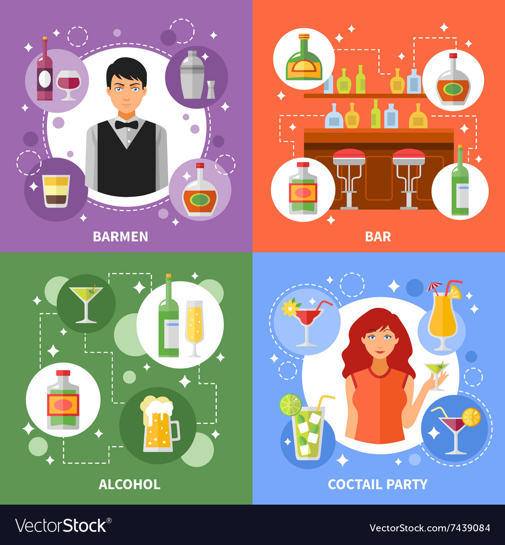 Bar concept 4 flat icons square vector