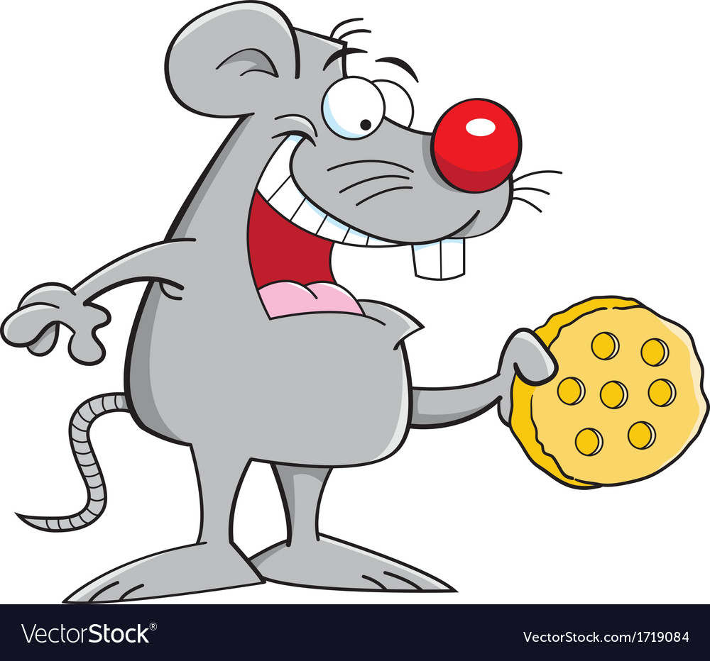 Cartoon mouse with cheese vector