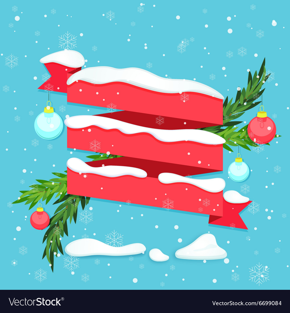 Red ribbon with snow baubles and fir branches vector