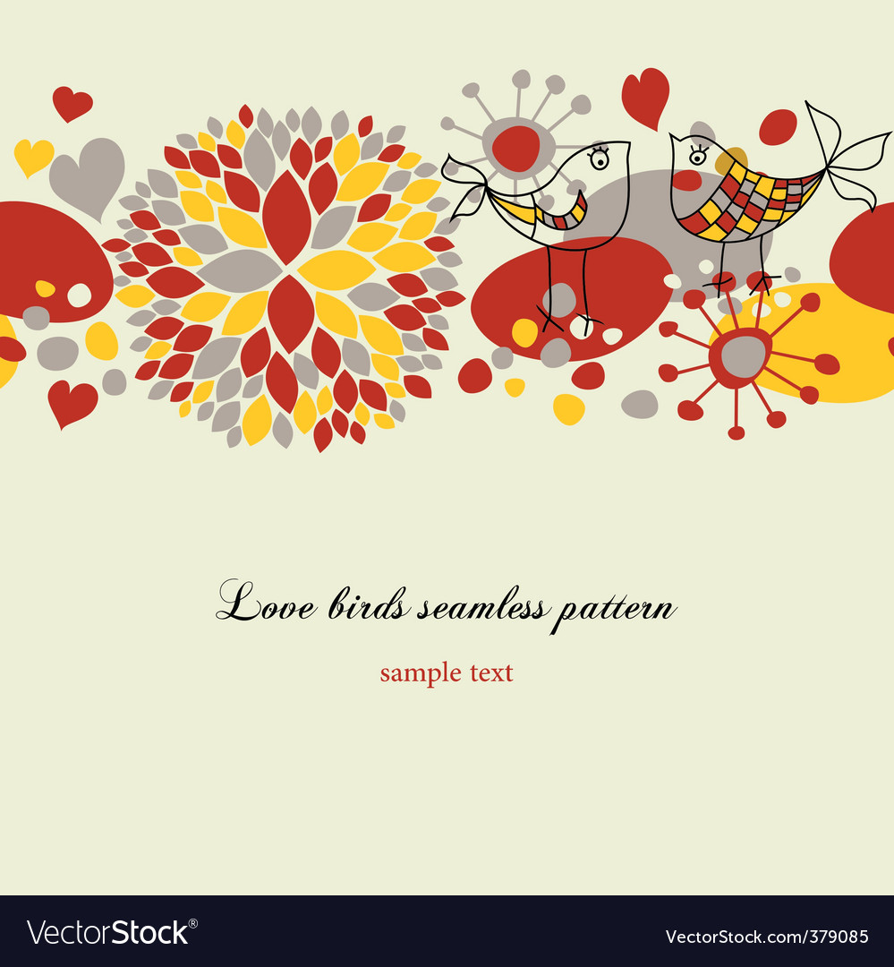 Love birds pattern vector
