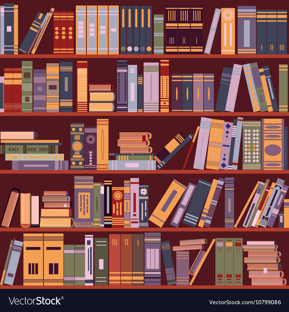 Bookshelf books library vector
