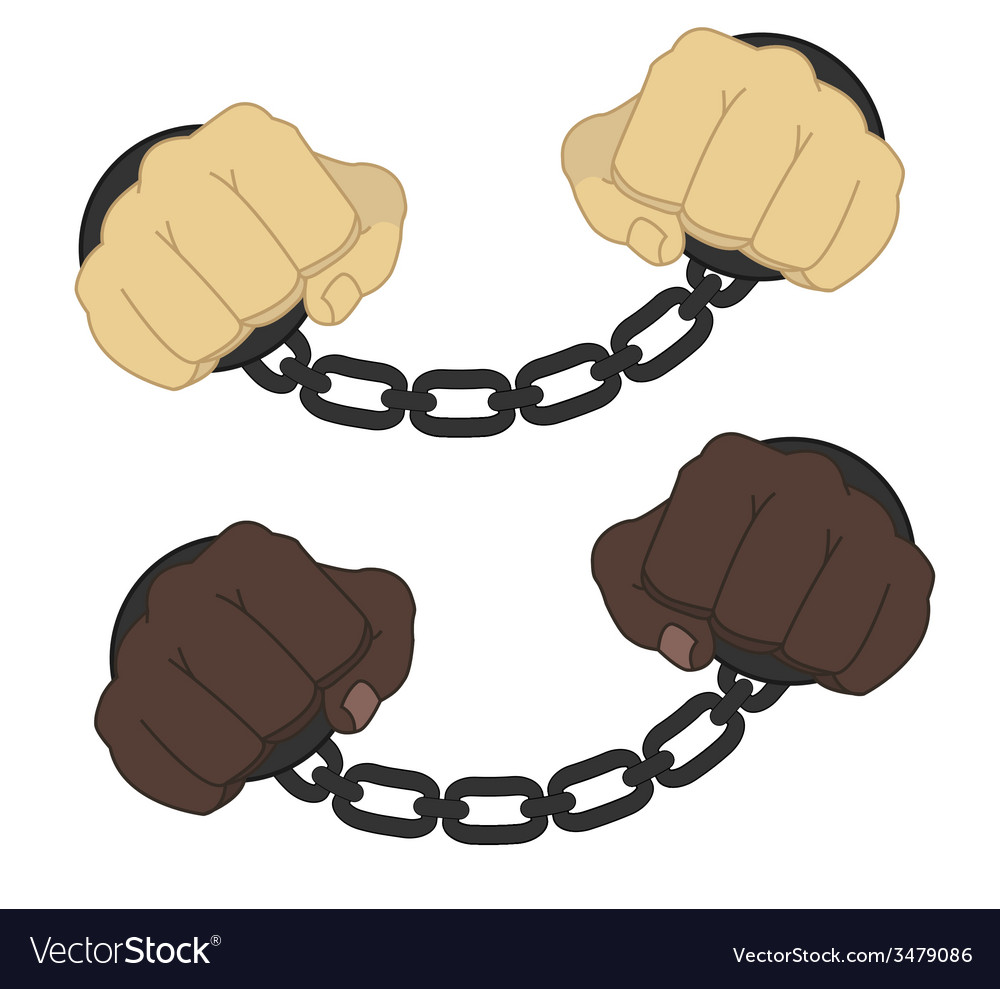 Hands in steel handcuffs vector