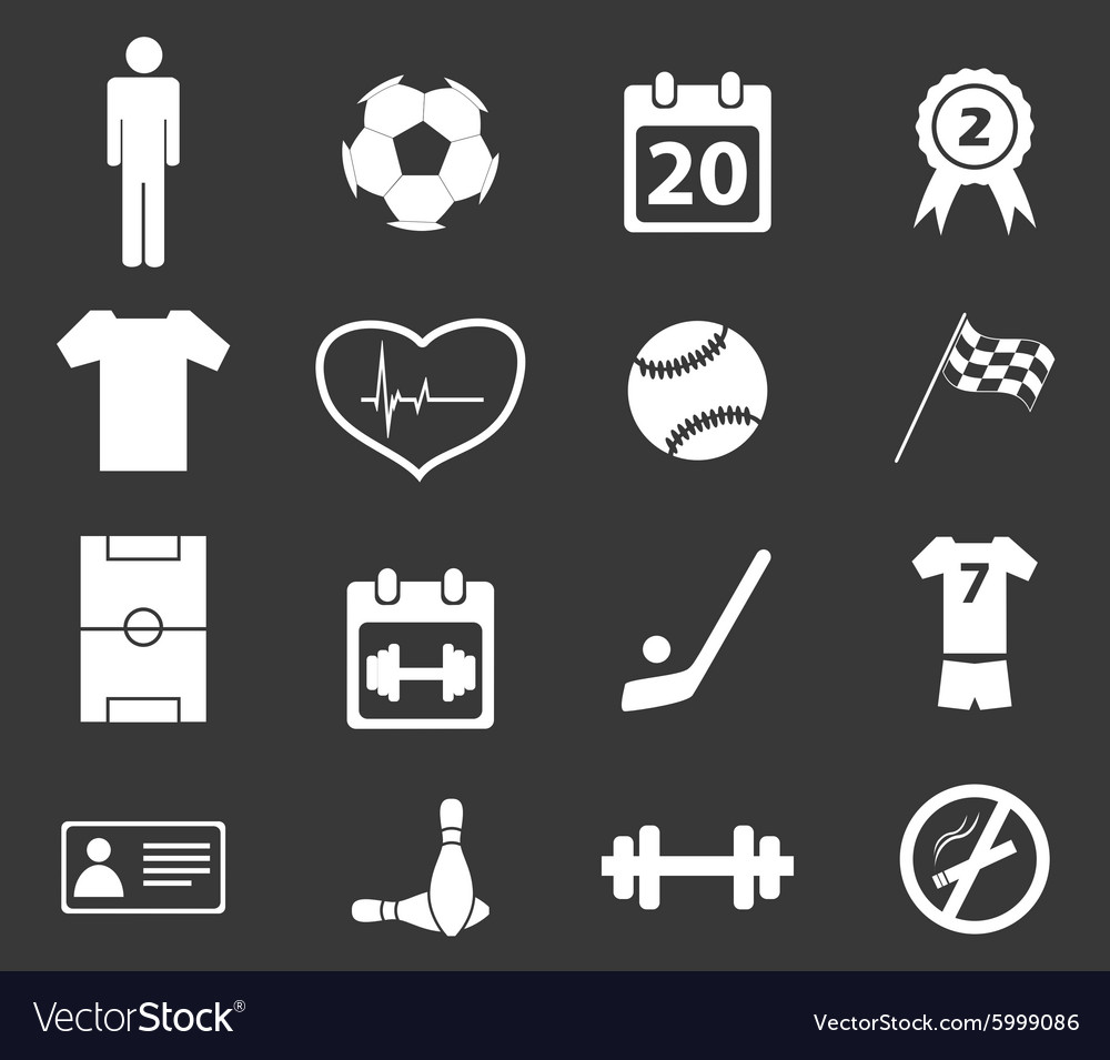 Sport icon set 2 monochrome vector