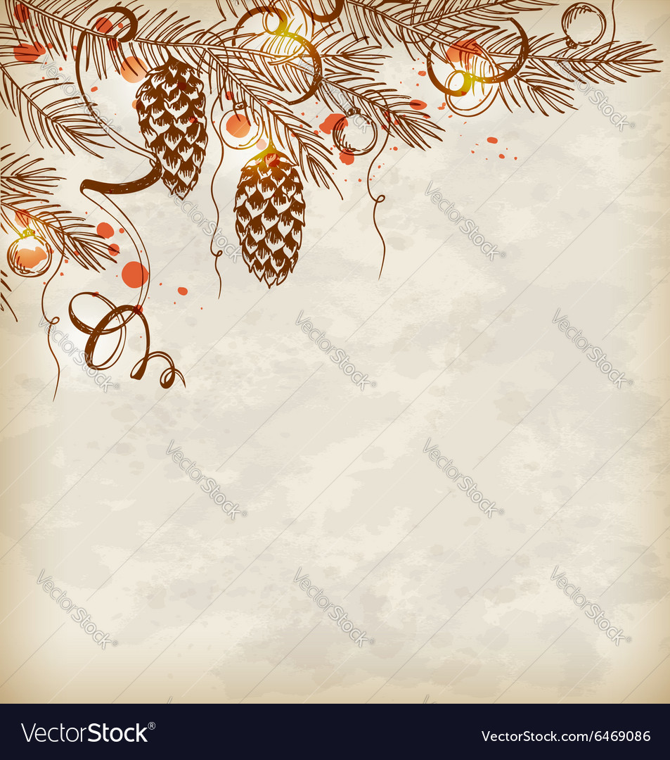 Vintage hand drawn christmas background vector