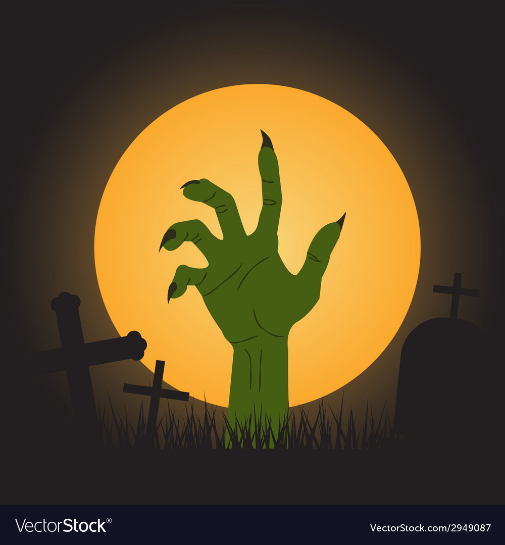 Halloween background zombie hand vector