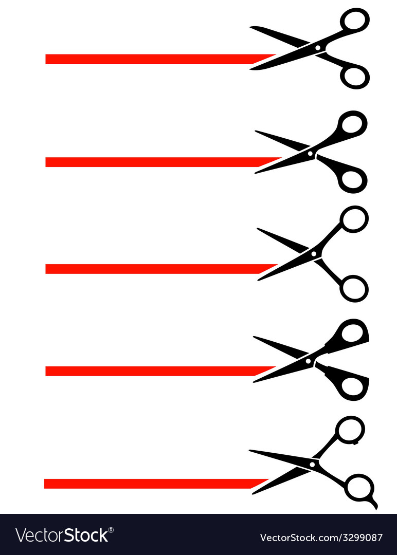 Scissors cutting red tape vector