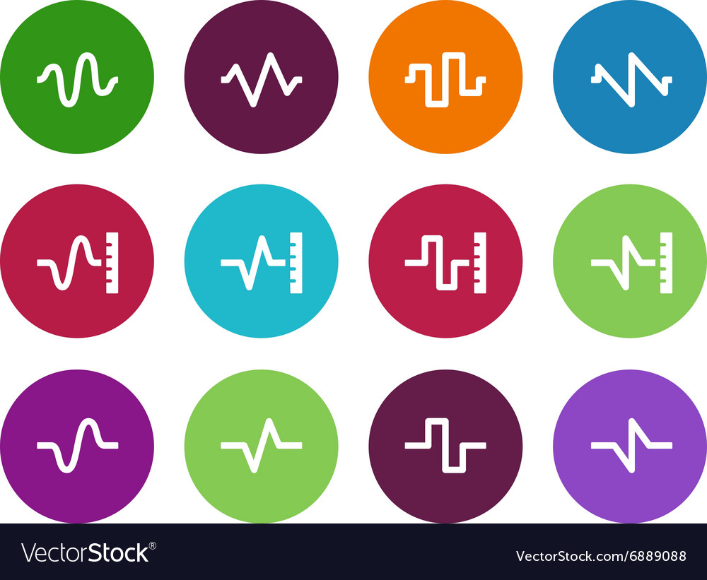 Sound circle icons on white background vector