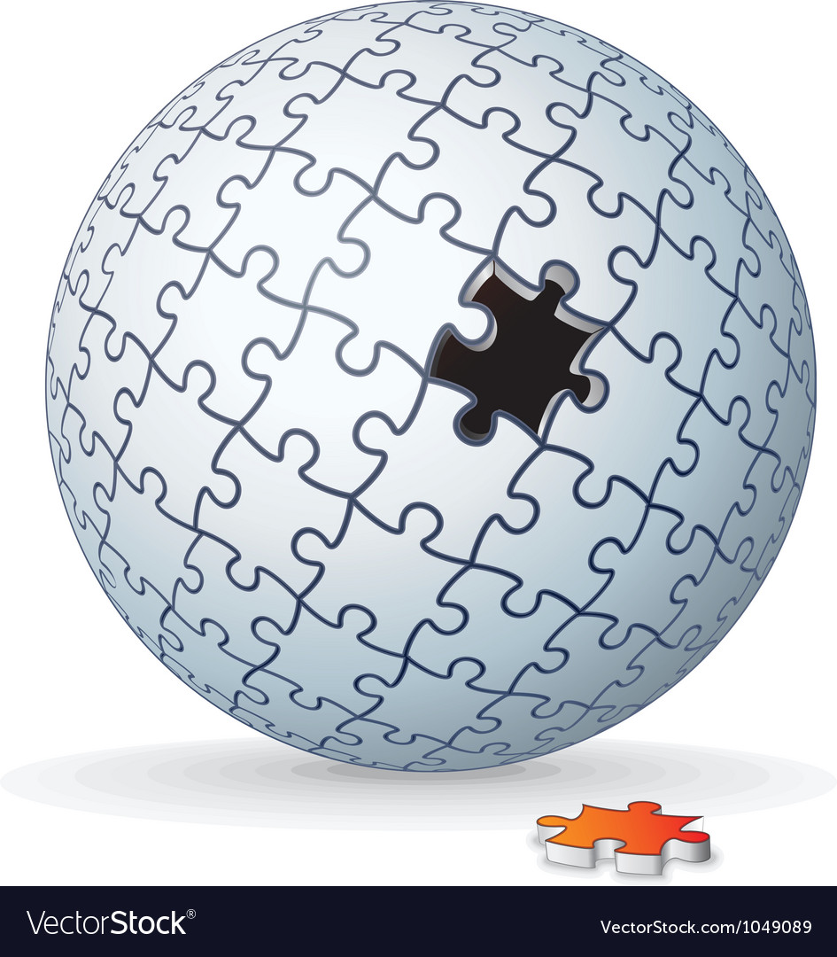Jigsaw puzzle globe sphere vector