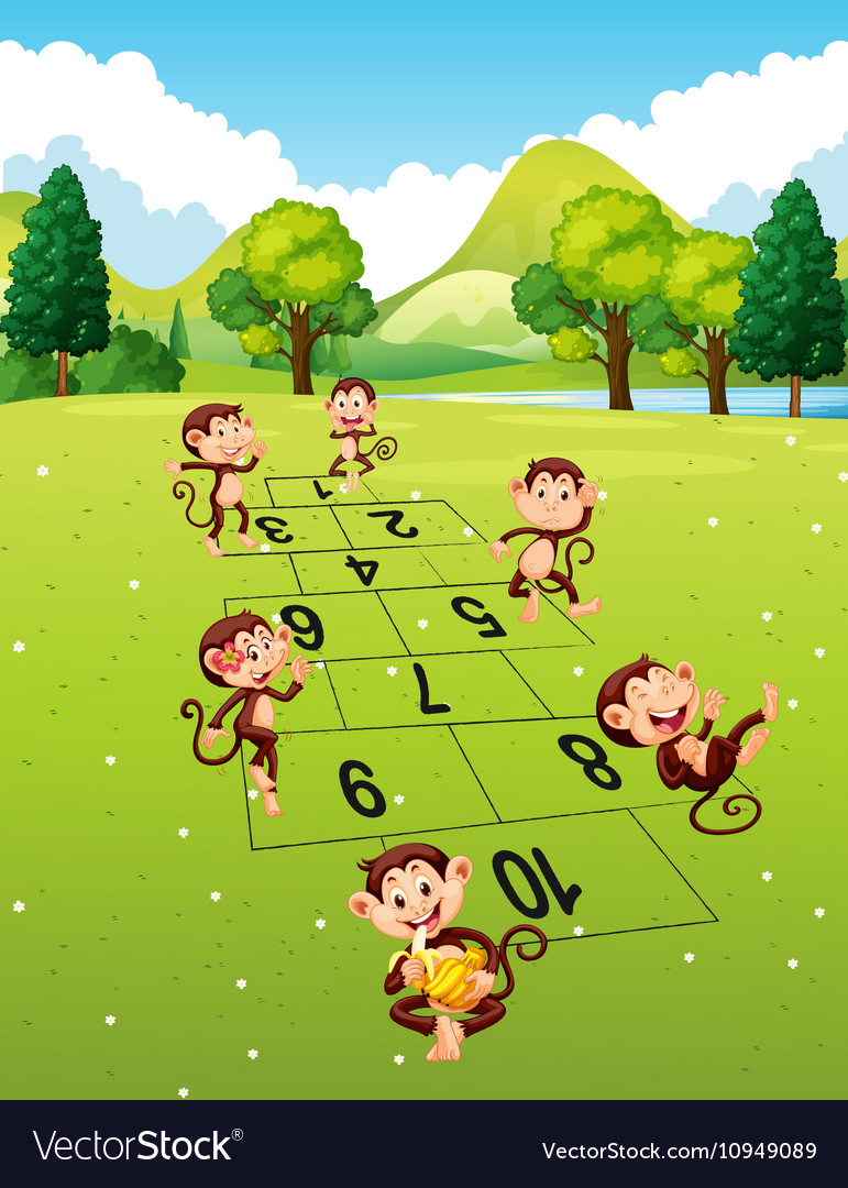Monkeys playing hopscotch in park vector
