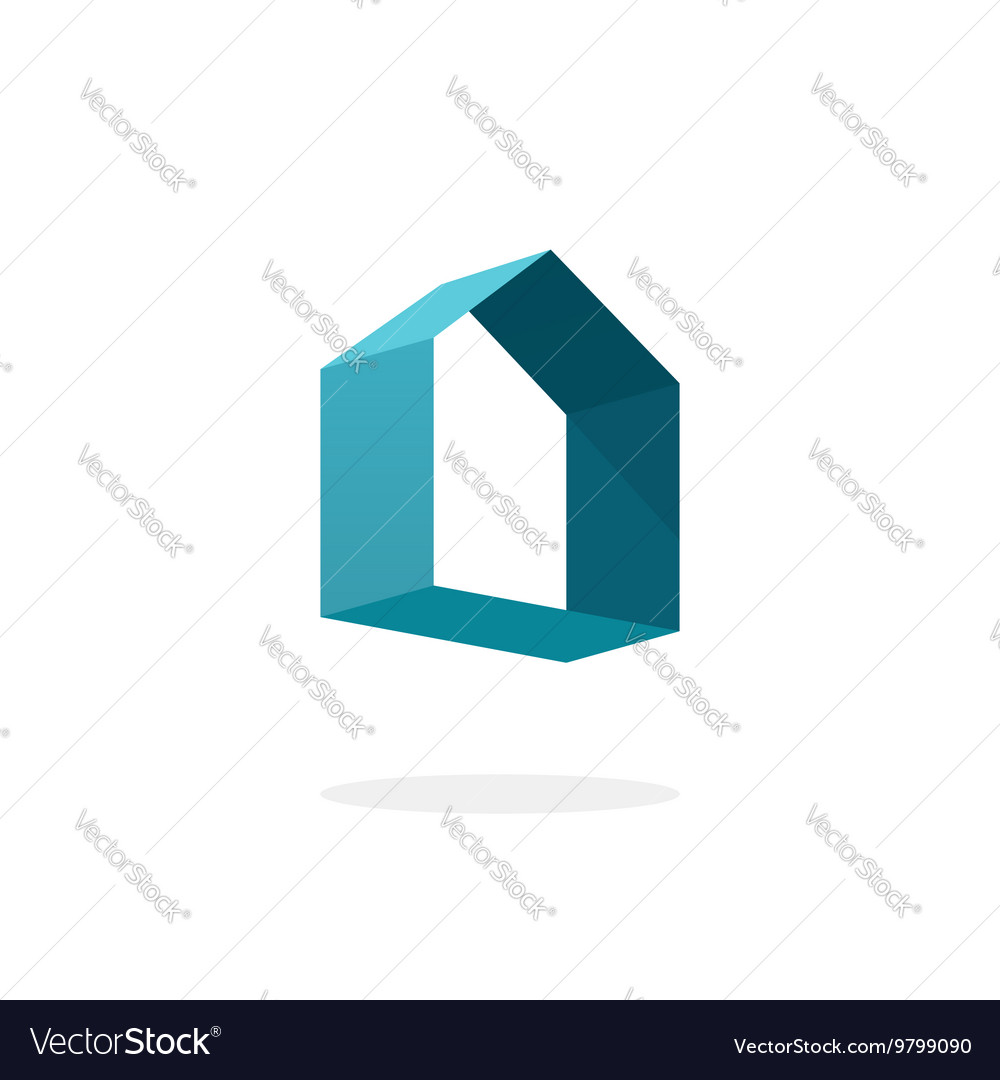 Blue 3d abstract geometric home logo house vector