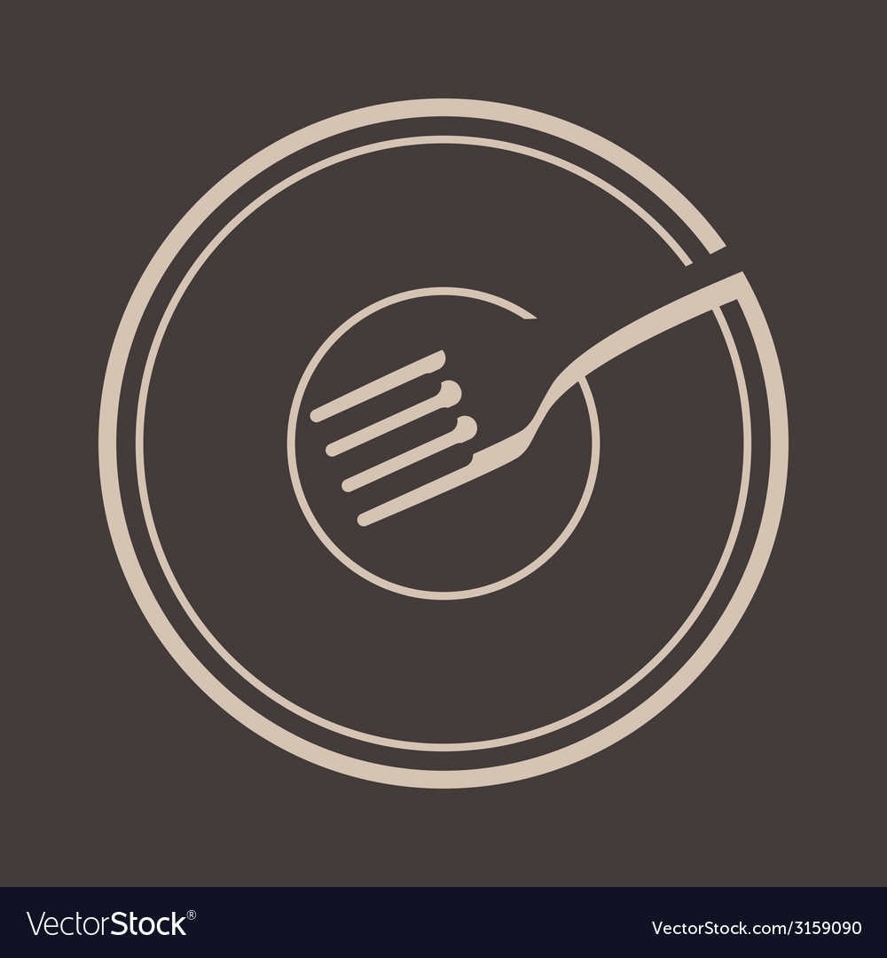 Plate and fork vector
