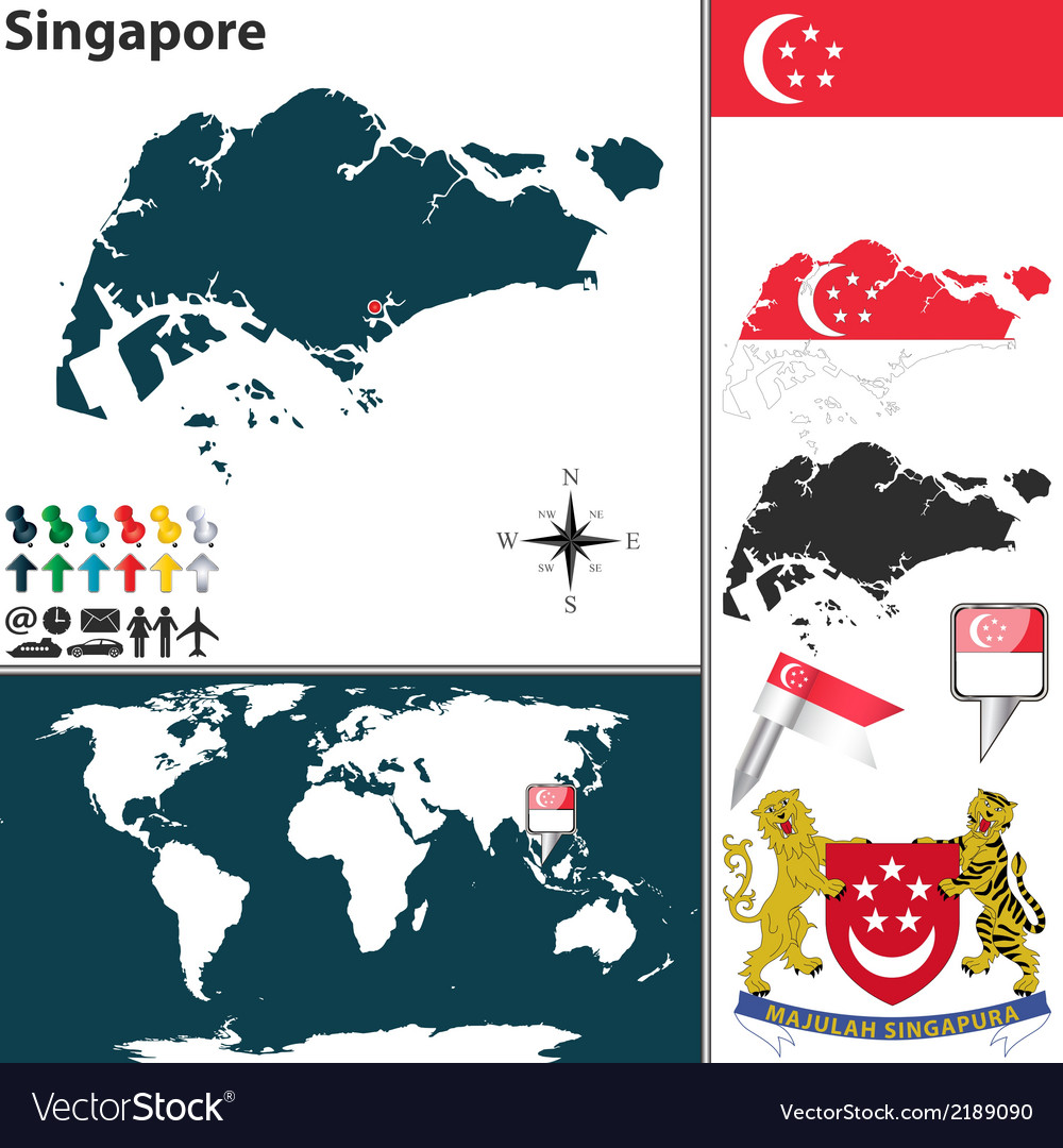 Singapore map world vector