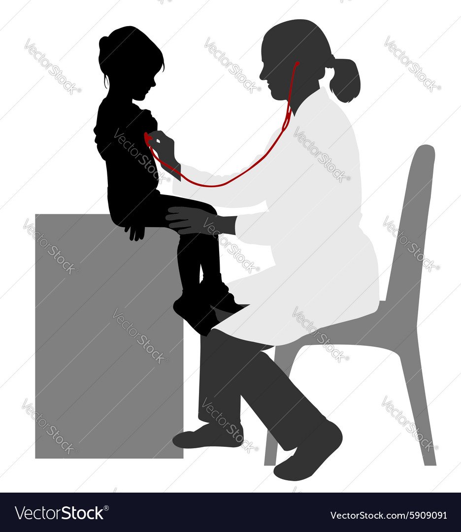Pediatrician silhouette vector