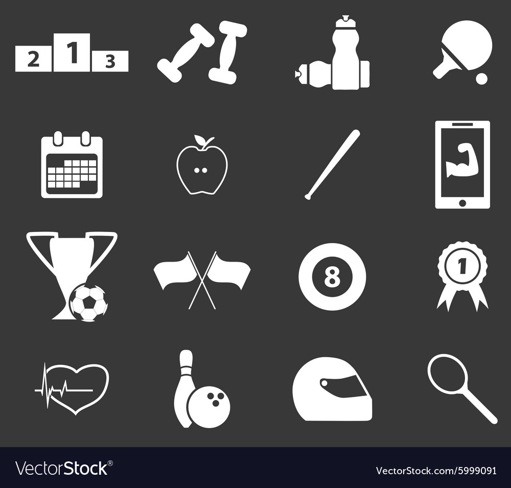 Sport icon set 6 monochrome vector