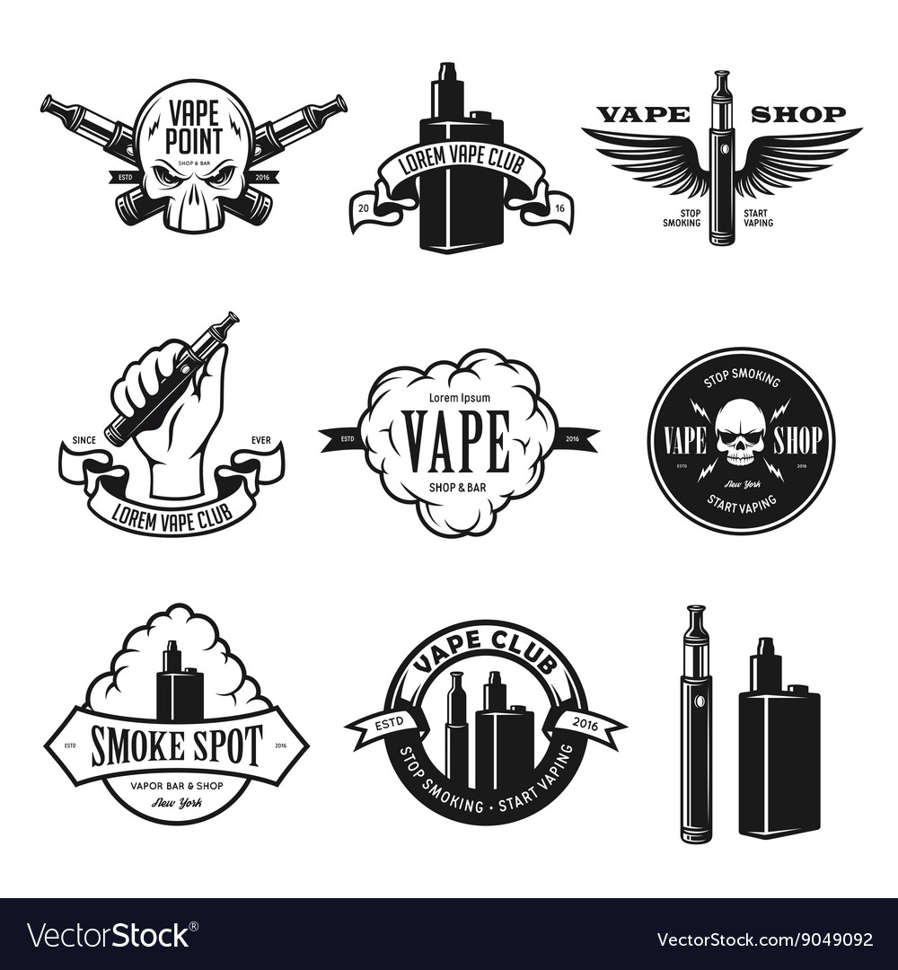 Set of vape ecigarette emblems labels prints vector