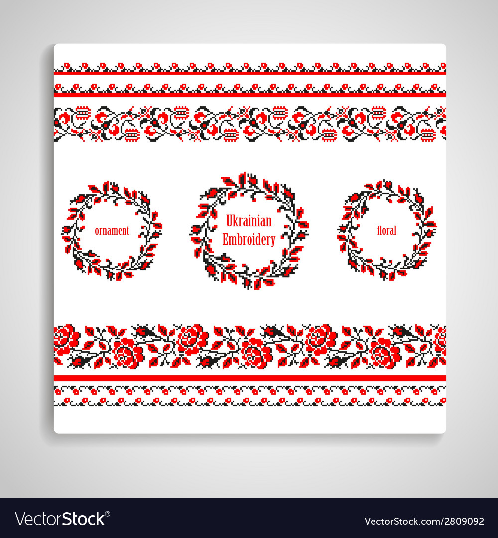 Ukrainian embroidery rosettes and seamless borders vector