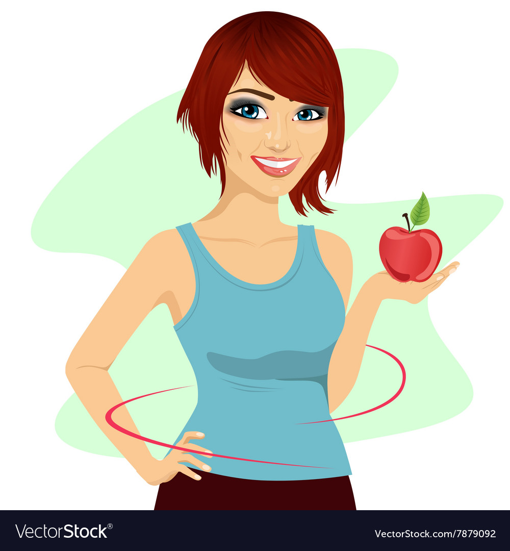 Young woman holding a red apple showing thin waist vector